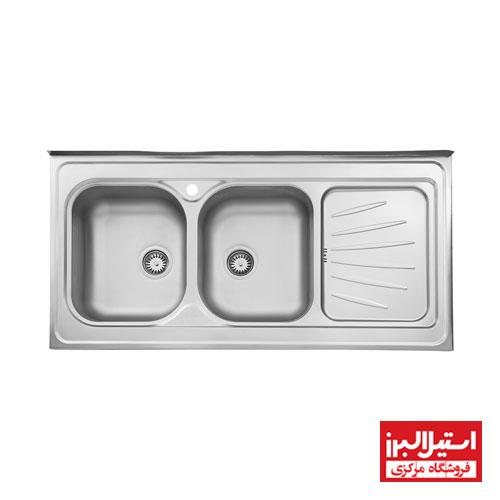 سینک ظرفشویی نیمه فانتزی روکار استیل البرز مدل 214