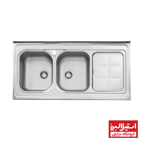 سینک ظرفشویی نیمه فانتزی روکار استیل البرز مدل 215