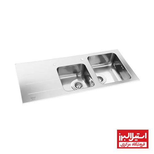 سینک ظرفشویی توکار استیل البرز مدل کریستال سفید