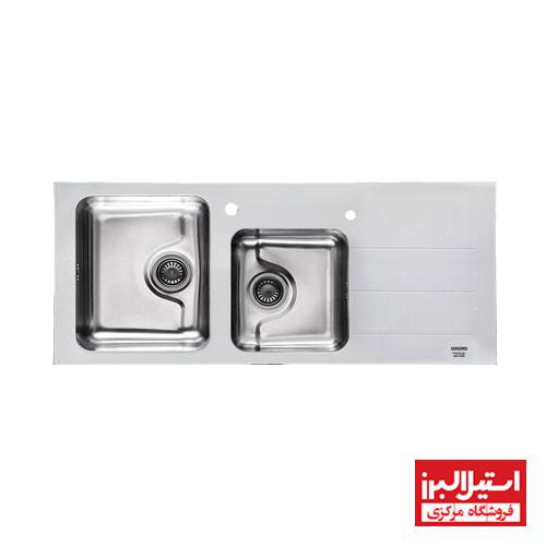 سینک ظرفشویی شیشه ای توکار استیل البرز مدل کریستال سفید